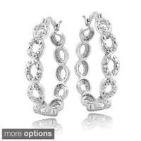 DB Designs Silvertone Diamond Accent Marquise Link Hoop Earrings