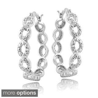 DB Designs Silvertone Diamond Accent Marquise Link Hoop Earrings