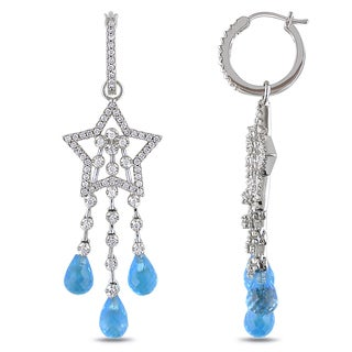 Miadora Signature Collection 14k White Gold 4/5ct TDW Diamond and Blue Topaz Chandelier Earrings (G-H)