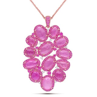 Miadora Signature Collection 14k Rose Gold 21ct TGW Pink Sapphire/ 1/10ct TDW Diamond Necklace (G-H, SI)