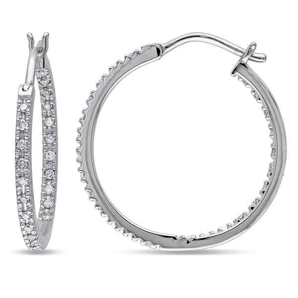ae19dad80 Miadora 10k White Gold 1/4ct TDW Diamond Inside Outside Hoop Earrings
