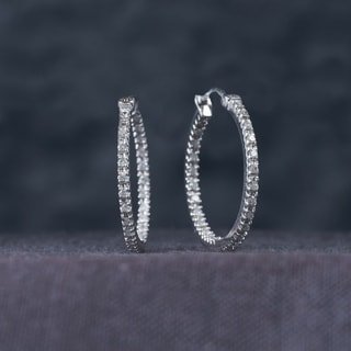 Miadora 10k White Gold 1/4ct TDW Diamond Inside Outside Hoop Earrings