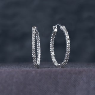 Miadora 1/4ct TDW Diamond Inside Outside Hoop Earrings in 10k White Gold (G-H, I2-I3)
