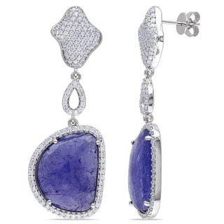 Miadora Signature Collection 14k White Gold Tanzanite and 1 1/3ct TDW Diamond Earrings (G-H, SI1-SI2)