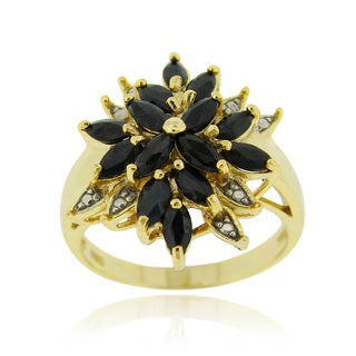 Glitzy Rocks 18k Gold Over Silver Sapphire and Diamond Accent Flower Ring