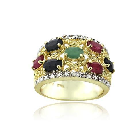 Glitzy Rocks Two-tone Multi-gemstone and Diamond Accent Ring
