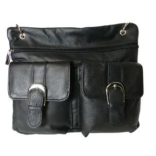 Hollywood Tag Black Leather Double Pocket Mini Messenger Bag