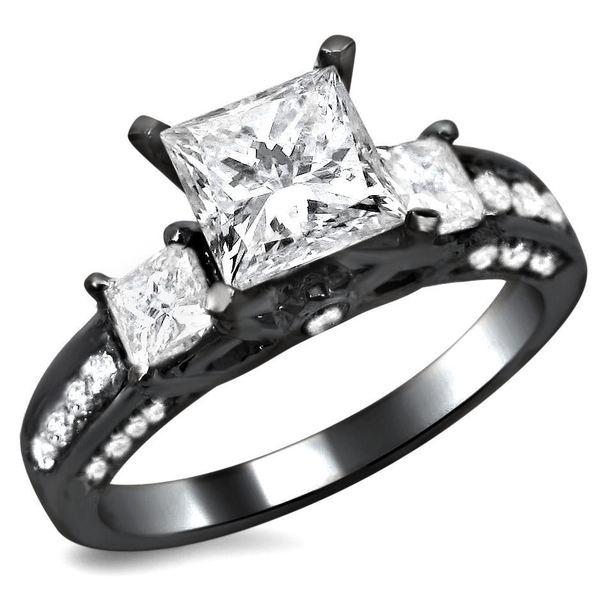 Noori 14k Black Gold 1 7/10ct TDW 3 Stone Princess Cut Diamond Engagement Ring