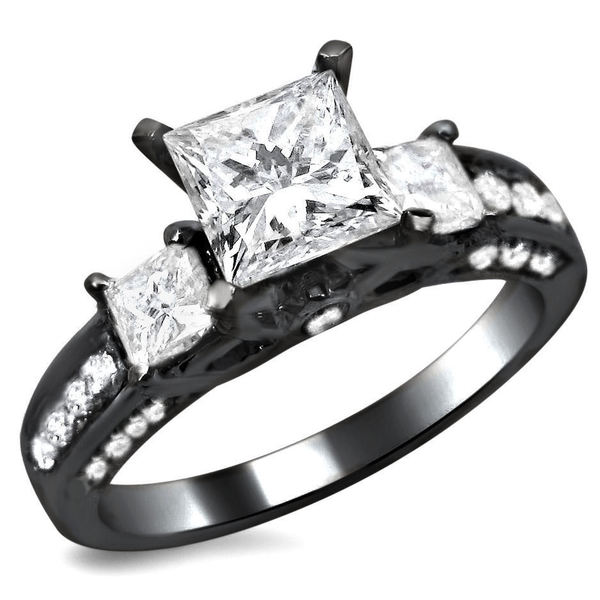 Noori 14k Black Gold 1 1 2ct TDW 3 Stone Princess Cut Diamond