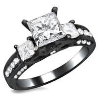 Noori 14k Black Gold 1 1/2ct TDW 3 Stone Princess Cut Diamond Engagement Ring