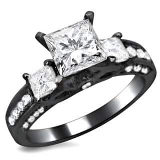 noori 14k black gold 1 12ct tdw 3 stone princess cut diamond engagement ring - Princess Wedding Ring