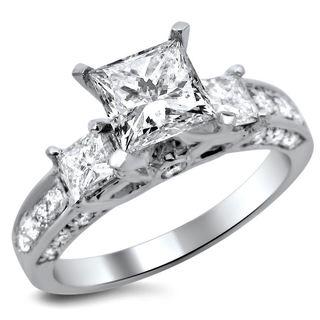 Noori 14k White Gold 1 1/2ct TDW 3-stone Princess Cut Diamond Engagement Ring