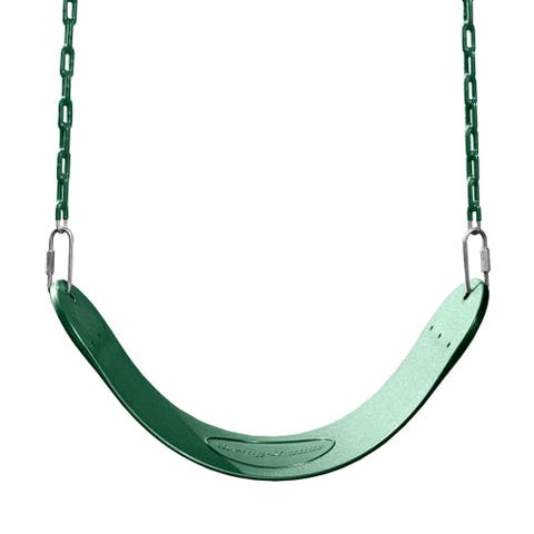 "Swing-N-Slide Green Swing Seat with Green Coated Chains - 27"" L x 5.5"" W x 60"" H"