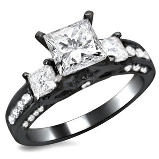 Noori 14k Black Gold 1 1/2ct TDW Certified 3-stone Enhanced Princess Cut Diamond Engagement Ring (More options available)