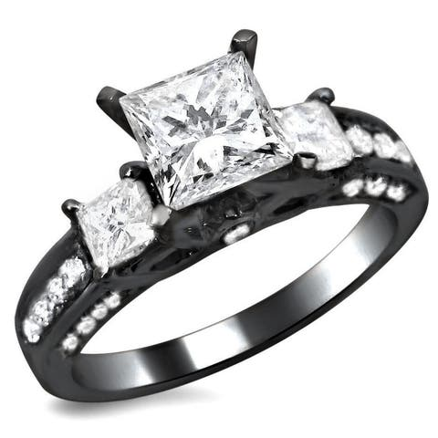 14k Black Gold 1 1/2ct TDW Certified 3-stone Enhanced Princess Cut Diamond Engagement Ring