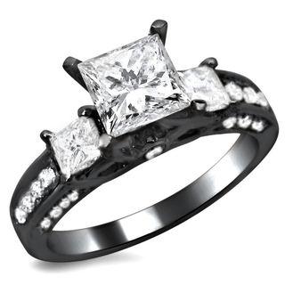 Beau Noori 14k Black Gold 1 1/2ct TDW Certified 3 Stone Enhanced Princess Cut
