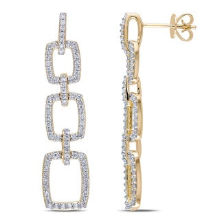 Miadora Signature Collection 14k Yellow Gold 7/8ct TDW Diamond Drop Earrings