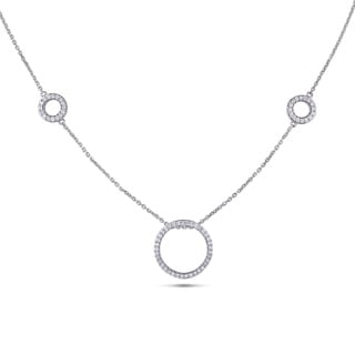 Miadora Signature Collection 14k White Gold 4/5ct TDW Diamond Circle Necklace (G-H, SI1-SI2)