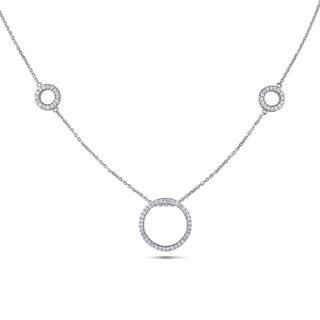 Miadora Signature Collection 14k White Gold 4/5ct TDW Diamond Circle Necklace