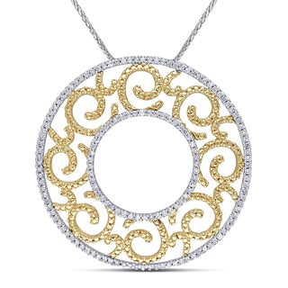 Miadora 14k Gold 3/4 TDW Diamond Vintage Filigree Circle Necklace