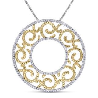 Miadora 14k Gold 3/4 TDW Diamond Vintage Filigree Circle Necklace