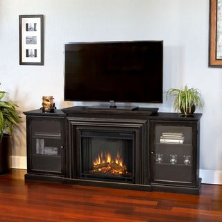 Frederick Electric Entertainment Fireplace Blackwash by Real Flame - 72L x 15.5W x 30.1H (Frederick Electric Fireplace Real Flame-Blackwash)
