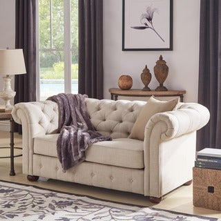 Link to Knightsbridge Beige Linen Tufted Scroll Arm Chesterfield Loveseat by iNSPIRE Q Artisan Similar Items in Living Room Furniture