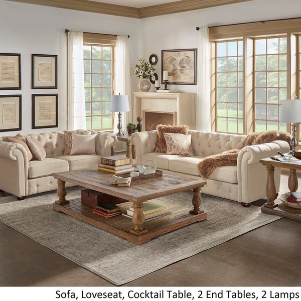 Knightsbridge Beige Fabric Button Tufted Chesterfield Sofa And Room Set By  INSPIRE Q Artisan   Free Shipping Today   Overstock.com   16005239