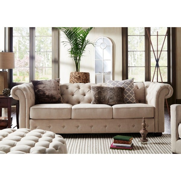 Knightsbridge Beige Fabric Button Tufted Chesterfield Sofa And - Chesterfield sofa