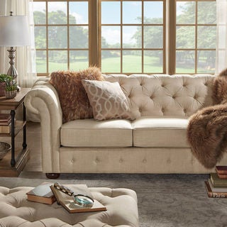 SIGNAL HILLS Knightsbridge Beige Linen Fabric Button Tufted Scroll Arm Chesterfield Sofa