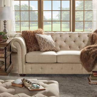 Knightsbridge Beige Linen Fabric Button Tufted Scroll Arm Chesterfield Sofa by SIGNAL HILLS