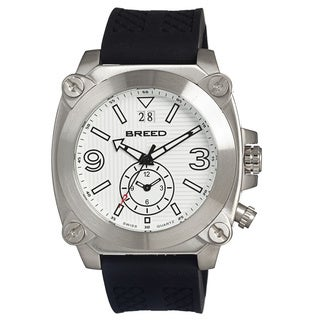Breed Men's Vin White Silicone Black Analog Watch