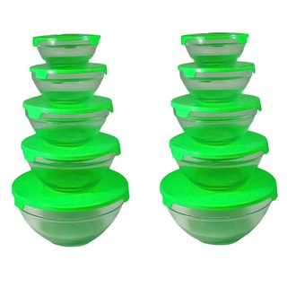 Alpine Cuisine 5-piece Nesting Glass Bowl Set with Green Lids (Pack of 2)