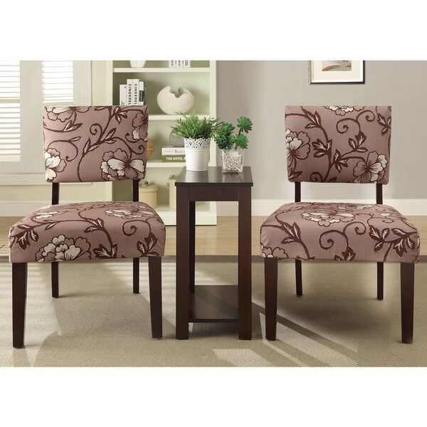 Alexis Vine 3 Piece Printed Accent Chair And Side Table
