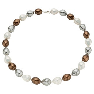 Pearlyta Sterling Silver Multi-colored Baroque Shell Pearl Necklace (14mm)