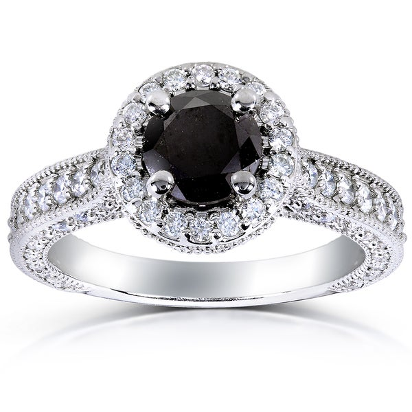 Annello by Kobelli 14k White Gold 1 4/5ct TDW Black and White Diamond Halo Ring (G-H, I1-