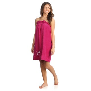 Ladies Cotton Hot Pink Bath Body Wrap with Monogram