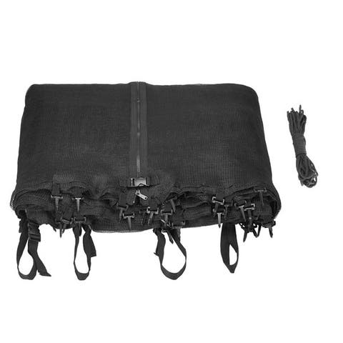 Trampoline Replacement Enclosure Net with Adjustable Straps for 8 ft. Round Frame Trampolines Using 4 Poles/ 2 Arches