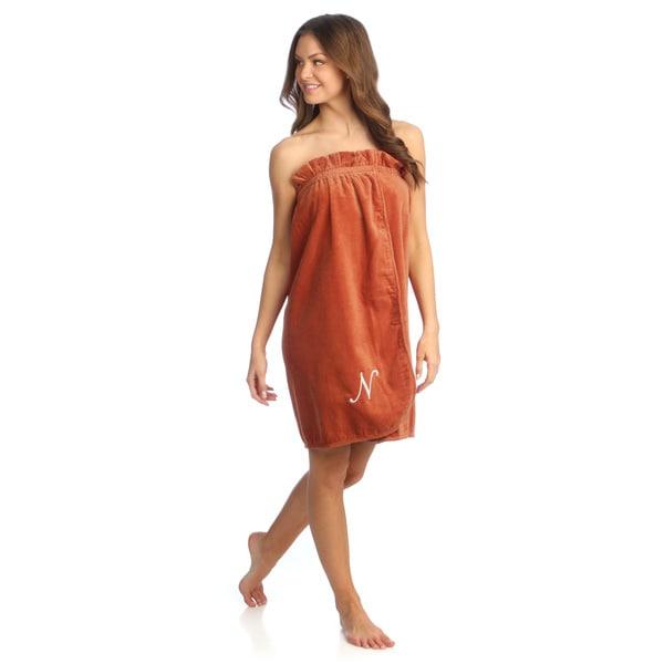 Ladies Cotton Cinnamon Bath Body Wrap with Monogram