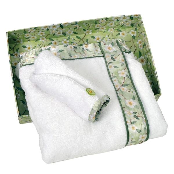 Bella & Bliss Green Blossom Silk-trimmed Spa Wrap Towels Set