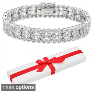 Finesque Silver Overlay 1/2ct TDW Diamond Three-row Bracelet with Red Bow Gift Box