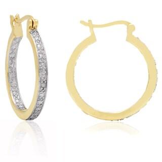 Finesque Yellow 14k Gold Overlay Diamond Accent Hoop Earrings