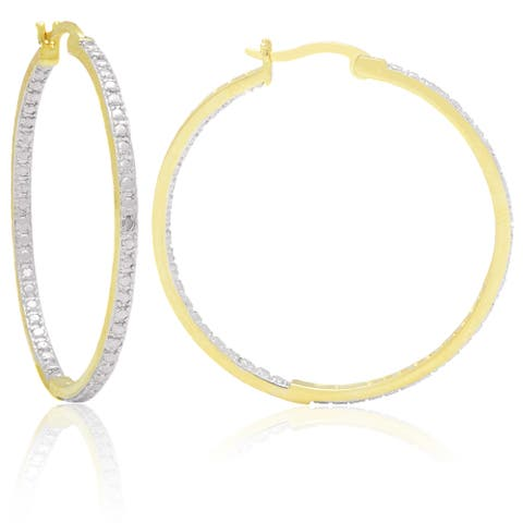 Finesque Yellow 14k Gold Overlay Diamond Accent Hoop Earrings