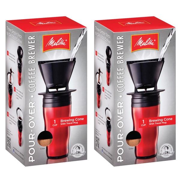 Melitta '64014' Ready Set Joe Red Pour-over Coffee Brewer Travel Mug