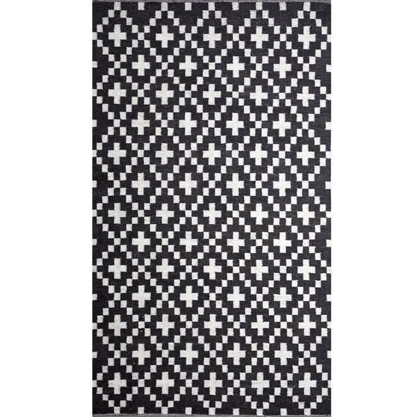 Criss Cross Raw Wool Area Rug