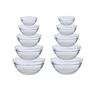 Alpine Cuisine 5-piece Nesting Glass Bowl Set with White Lids (Pack of 2)