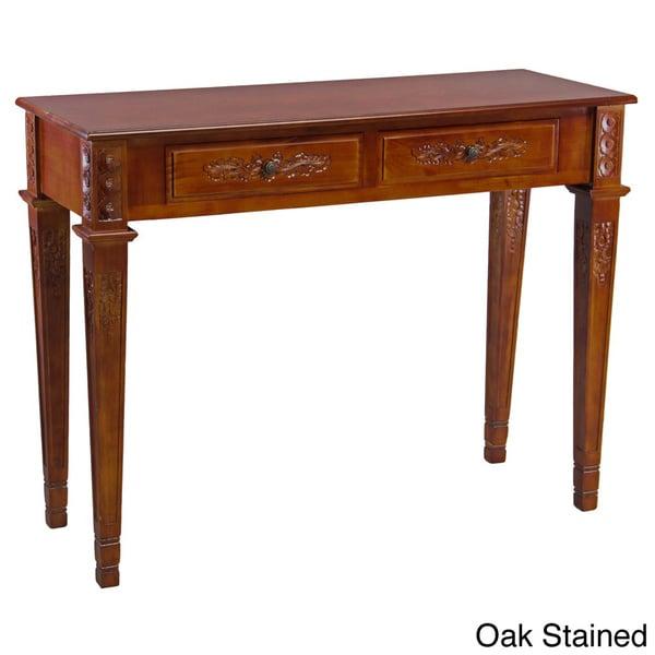 International Caravan Windsor Collection Carved Hardwood Rectangular Two-drawer Wall Table