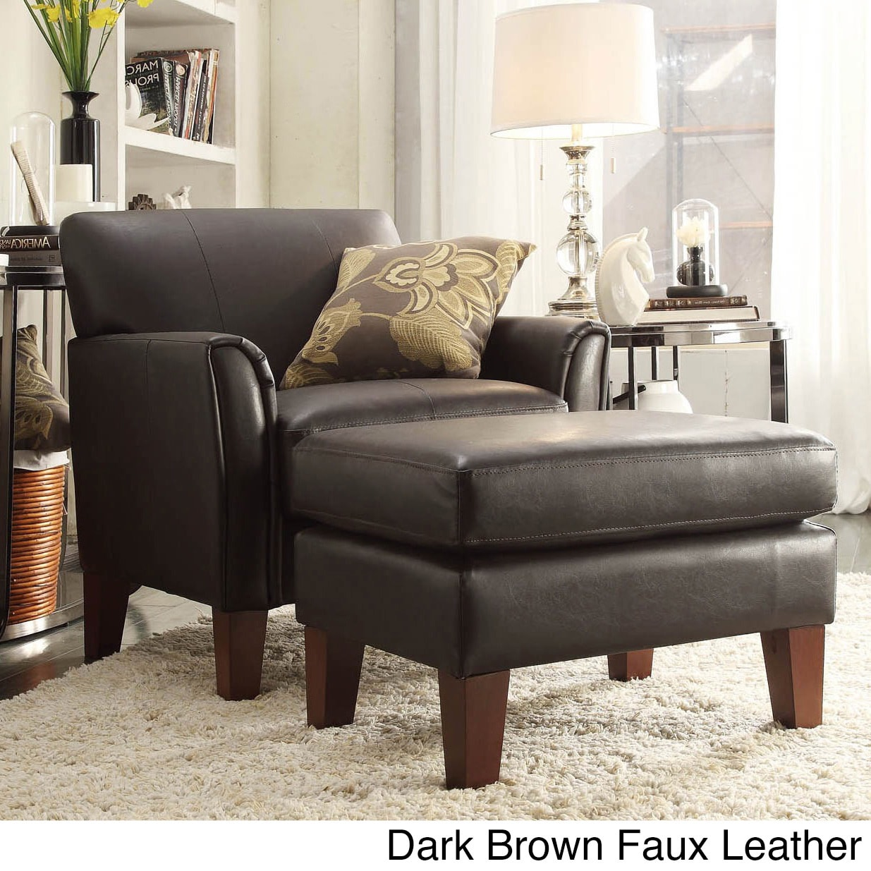 uptown modern accent chair and ottoman by inspire q. Black Bedroom Furniture Sets. Home Design Ideas