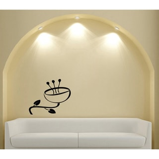 Cafe Coffee Cup Flower Glossy Black Vinyl Sticker Wall Decal