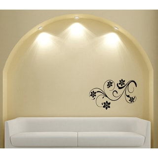 Abstract Flowers and Swirls Black Vinyl Sticker Wall Decal